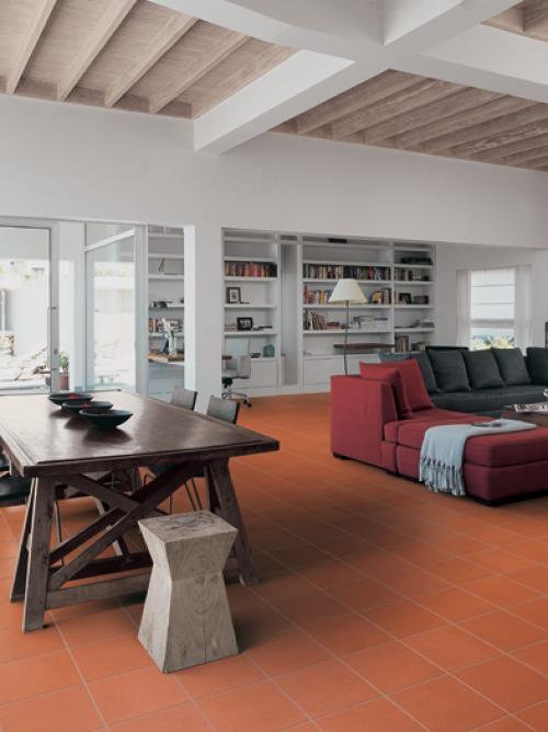 Pavimenti cotto soggiorno caldi accoglienti rustici for Pavimenti per soggiorno