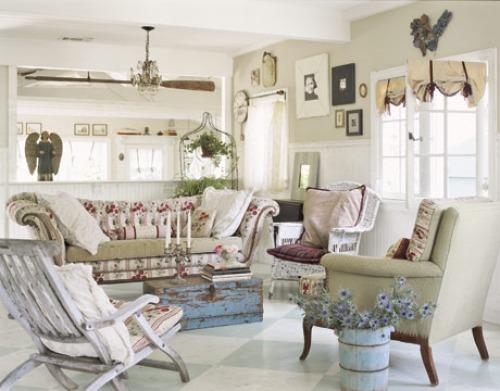 soggiorno provenzale: eleganza, azzurro o lilla, bianco