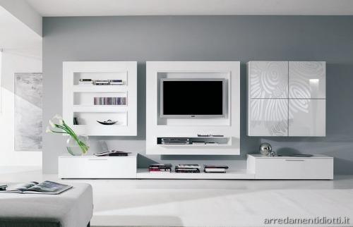 pareti soggiorno moderne: bianco, grigio, colore acceso, arredi